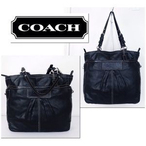 Coach XL Black Leather Turnlock Gallery Tote Bag